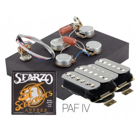 Pack kit éléctronique copie LesPaul 3 positions - Micros Gn'B PAF noir - Cordes Sfarzo 10-46