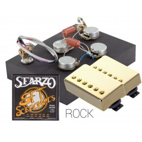 Pack kit éléctronique copie LesPaul 3 positions - Micros Gn'B Rock doré - Cordes Sfarzo 10-46
