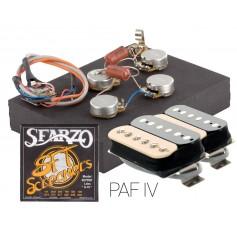Pack kit éléctronique copie LesPaul® 6 positions - Micros Gn'B PAF zébra - Cordes Sfarzo 10-46