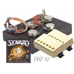 Pack kit éléctronique copie LesPaul® 6 positions - Micros Gn'B PAF doré - Cordes Sfarzo 10-46