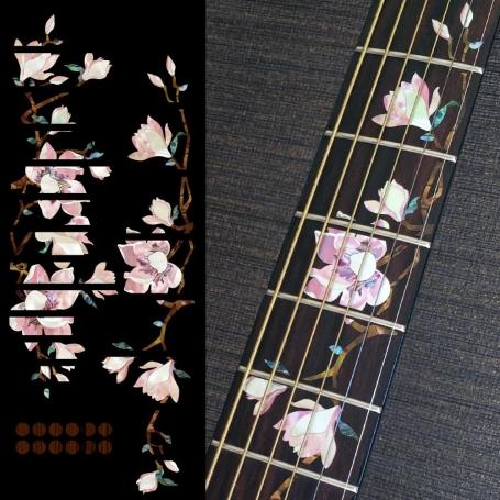 Sticker Magnolia à fleurs roses touche guitare