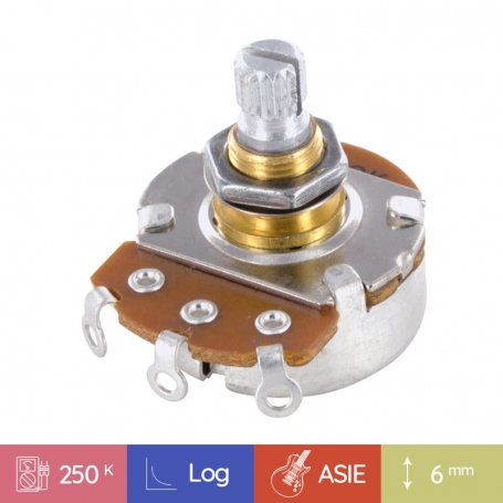 Potentiomètre guitare métrique court Stratocaster 250k log