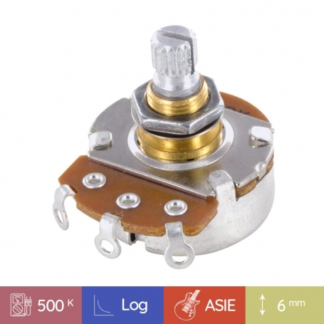 Potentiomètre guitare métrique court Stratocaster 500k log