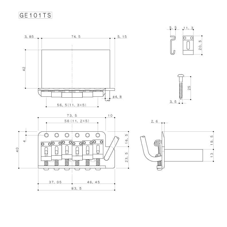Dimensions vibrato guitare Gotoh GE101TS VT-100 doré