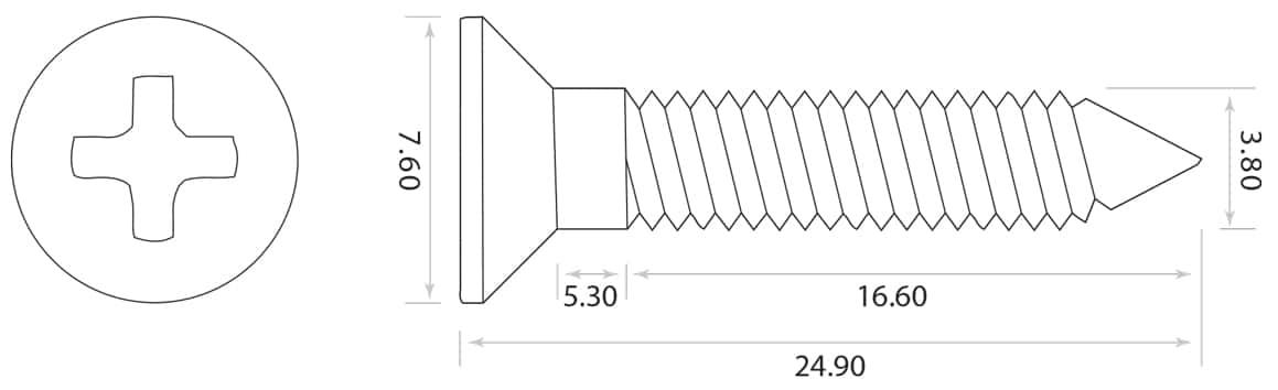 dimensions vis cordiers guitare GS-0063-010 Allparts
