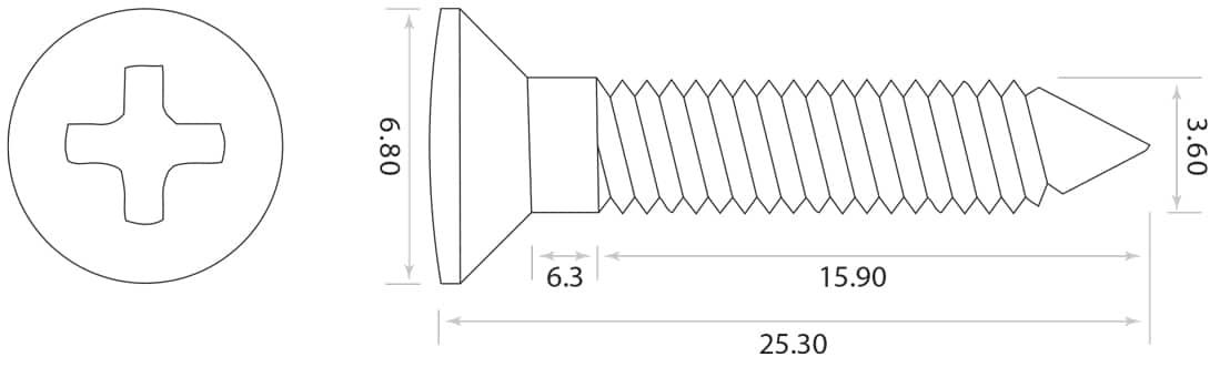dimensions vis cordiers guitare GS-3363-001 Allparts