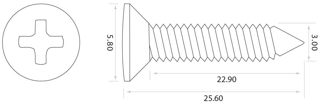 dimensions vis cordiers guitare fines GS-3364-010 Allparts