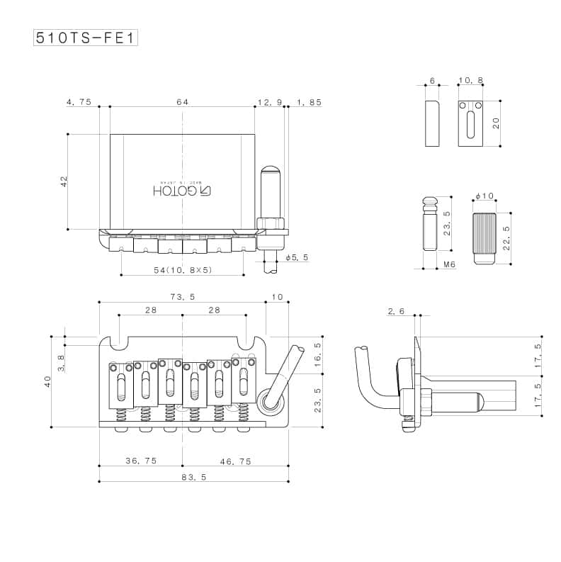 Dimensions Vibrato Gotoh 510TS-FE1