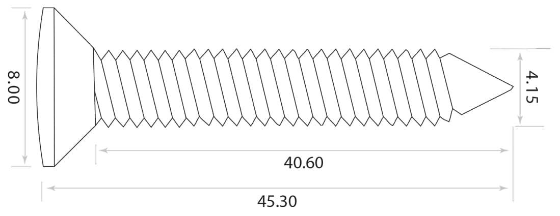 dimensions vis fixation manche guitare chrome VS-218-CR Mileon